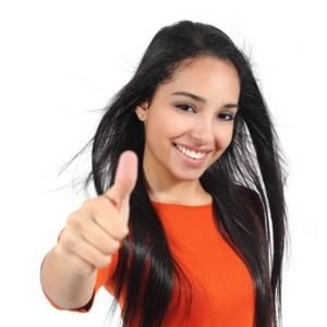 Beautiful woman with perfect white smile and thumb up